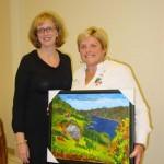 Oakville artist, Kim Gordon with Sandy Gray, the new oil painting owner