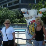 Past Governor Margaret and myself in Hong Kong at the special display outside the art gallery for the Olympics
