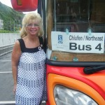 Shirley on a bus tour of Taipei through the mountains, museum and sight seeing