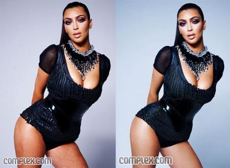 Kim Kardashian posted the before and after shots on her Web site.