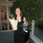 Colleen holding a Gerber Daisy